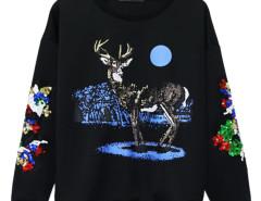 Black Sequin Deer Print Sweatshirt Choies.com online fashion store United Kingdom Europe