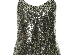 Black Sequined Cami Vest Choies.com online fashion store United Kingdom Europe