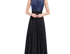 Black Sequined Contrast Applique Panel Maxi Dress Choies.com online fashion store United Kingdom Europe
