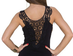 Black Sheer Crochet Lace Detail Tight Vest Choies.com online fashion store United Kingdom Europe