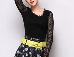 Black Sheer Lace Panel Cross Strap Long Sleeve T-shirt Choies.com online fashion store United Kingdom Europe