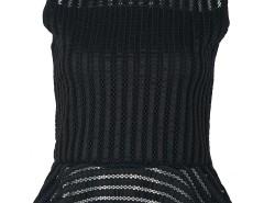 Black Sheer Mesh Sleeveless Ruffle Hem Zipper Back T-shirt Choies.com online fashion store United Kingdom Europe