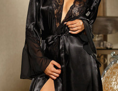 Black Sheer Panel Flare Sleve Sleepwear And Cami Dress & Underwear Choies.com online fashion store United Kingdom Europe