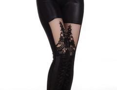Black Sheer Panel Lace Bandage Strap Detail Leggings Choies.com online fashion store United Kingdom Europe