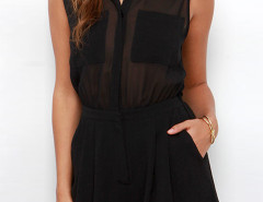 Black Shirt Collar Transparent Wrap Back Romper Playsuit Choies.com online fashion store United Kingdom Europe