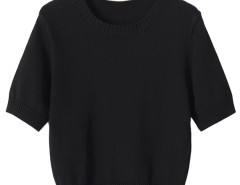 Black Short Sleeve Knitted Cropped Sweater Choies.com online fashion store United Kingdom Europe