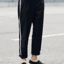 Black Side Stripe Print Straight Ankle Pants Choies.com online fashion store United Kingdom Europe