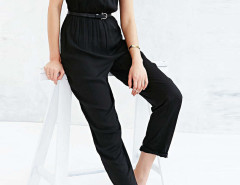 Black Sleeveelss Keyhole Elastic Waist Jumpsuit Choies.com online fashion store United Kingdom Europe