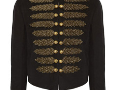 Black Stand Collar Embroidery Metallic Court Style Coat Choies.com online fashion store United Kingdom Europe