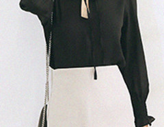 Black Stand Collar Tie Front Elastic Cuff Long Sleeve Blouse Choies.com online fashion store United Kingdom Europe