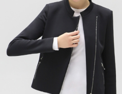 Black Stand Collar Zipper Detail Coat Choies.com online fashion store United Kingdom Europe
