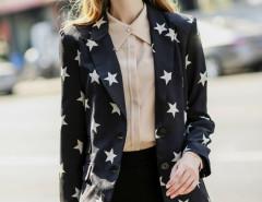 Black Star Print Lapel Long Sleeve Slim Blazer Choies.com online fashion store United Kingdom Europe