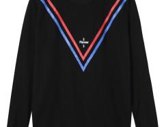 Black Stripe And Letter Print Long Sleeve Sweatshirt Choies.com online fashion store United Kingdom Europe