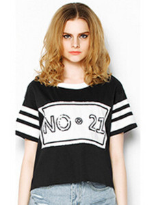 Black Stripe And Sequin No.21 T-shirt Choies.com online fashion store United Kingdom Europe