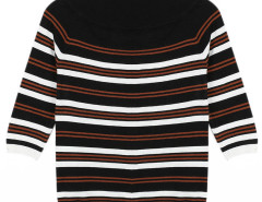 Black Stripe Boat Neck 3/4 Sleeve Sweater Choies.com online fashion store United Kingdom Europe