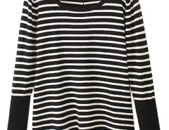 Black Stripe Button Back Ruched Hem Sweater Choies.com online fashion store United Kingdom Europe