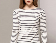 Black Stripe Long Sleeve T-shirt Choies.com online fashion store United Kingdom Europe