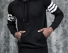 Black Striped Sleeve Pocket Front Hooded Jumper Choies.com online fashion store United Kingdom Europe