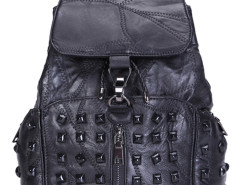 Black Studded Buckle Zip Detail Backpack Choies.com online fashion store United Kingdom Europe