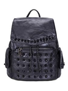Black Studded Detail Side Pocket Drawstring Backpack Choies.com online fashion store United Kingdom Europe