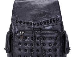 Black Studded Detail Side Pocket Drawstring Backpack Choies.com online fashion store United Kingdom Europe