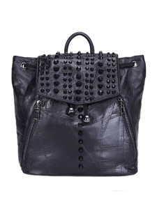 Black Studded Drawstring Top Handle Backpack Choies.com online fashion store United Kingdom Europe