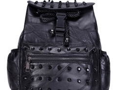 Black Studded Zip Detail Drawstring Backpack Choies.com online fashion store United Kingdom Europe
