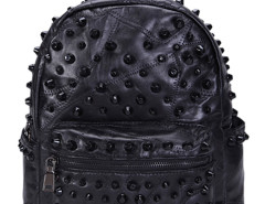 Black Studded Zip Detail Leather Backpack Choies.com online fashion store United Kingdom Europe