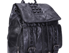 Black Studs Embellished Buckle Drawstring Backpack Choies.com online fashion store United Kingdom Europe