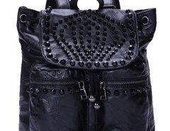Black Studs Embellished Drawstring Leather Backpack Choies.com online fashion store United Kingdom Europe