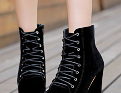 Black Suede Lace Up Heeled Boots Choies.com online fashion store United Kingdom Europe