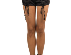 Black Suedette Multi Strap High Waist Shorts Choies.com online fashion store United Kingdom Europe