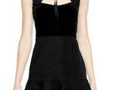 Black Suedette Panel Cut Out Front Ruffle Dress Choies.com online fashion store United Kingdom Europe