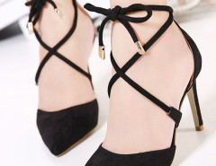 Black Suedette Pointed Bow Tie Lace Up Heels Choies.com online fashion store United Kingdom Europe
