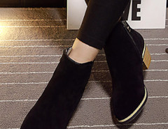 Black Suedette Pointed Zipper Side Ankle Boots Choies.com online fashion store United Kingdom Europe