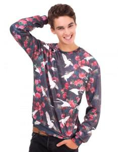 Black Swans Printed Polyester Sweatshirt Carnet de Mode online fashion store Europe France