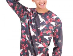 Black Swans Printed Polyester Sweatshirt Carnet de Mode online fashion store Europe France