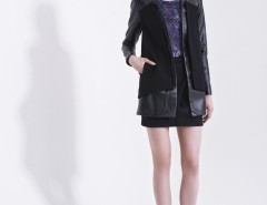 Black Synthetic Leather Blazer Carnet de Mode online fashion store Europe France