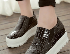 Black Textured Flatform Loafers Choies.com online fashion store United Kingdom Europe