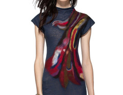 Black Tie Dye High Neck Cap Sleeve Knit A-line Dress Choies.com online fashion store United Kingdom Europe