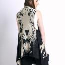 Black Tiger Pattern Sleeveless Waterfall Knitted Cardigan Choies.com online fashion store United Kingdom Europe