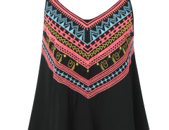 Black Tribal Embroidery Layer Cami Vest Choies.com online fashion store United Kingdom Europe