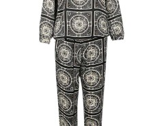 Black Tribal Print Long Sleeve Sweatshirt And Straight Pants Choies.com online fashion store United Kingdom Europe
