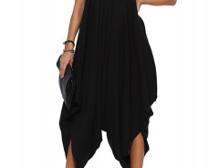 Black V Neck Ruffle Asymmetric Loose Cami Jumpsuit Choies.com online fashion store United Kingdom Europe