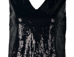 Black V Neck Sequin Detail Vest Choies.com online fashion store United Kingdom Europe
