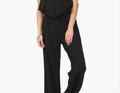 Black V-neck Frill Detail Cross Backless Cami Jumpsuit Choies.com online fashion store United Kingdom Europe