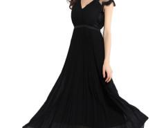 Black V-neck Lace Panel Shoulder Beaded Waist Pleat Prom Dress Choies.com online fashion store United Kingdom Europe