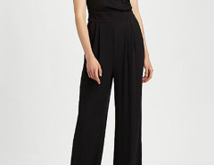 Black Wrap Front Tied Waist Ruched Jumpsuit Choies.com online fashion store United Kingdom Europe