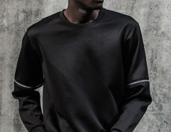 Black Zip Detail Long Sleeve Plain Sweatshirt Choies.com online fashion store United Kingdom Europe