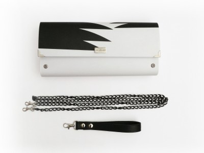 Black and White Printed Clutch Nadia Stasinou Carnet de Mode online fashion store Europe France